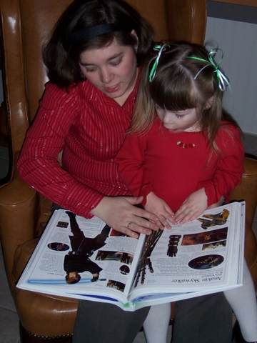 Reading about Star Wars with Mommy