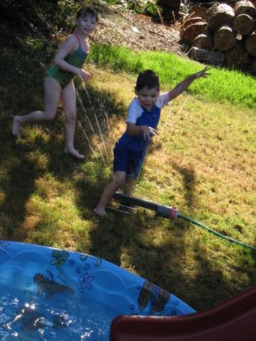Dashing through the sprinkler