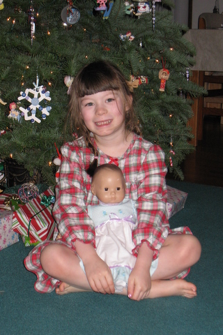 Ane and Dolly, Christmas morning 2009