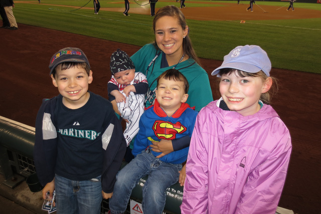 Auntie and the kids at the game