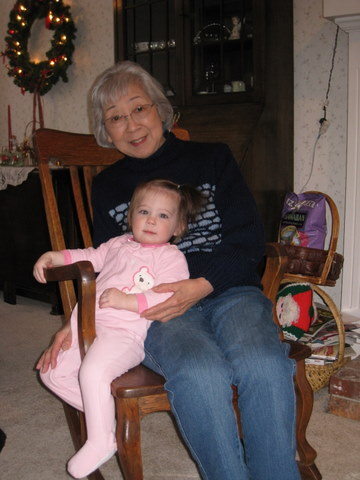 Obachan and Little Cowgirl, Christmas 2008