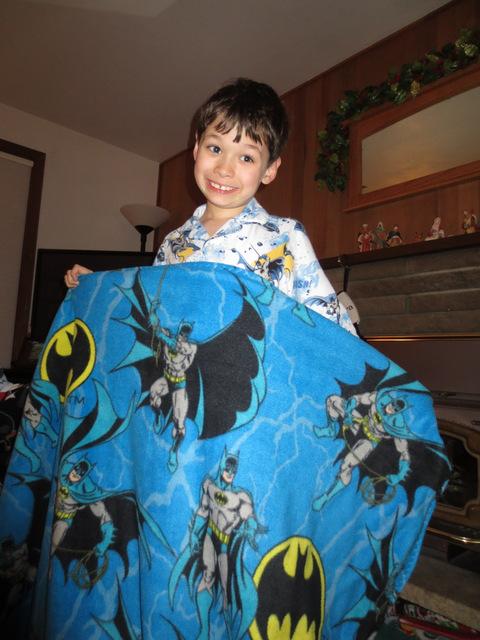 Tad gets a Batman fleece blanket