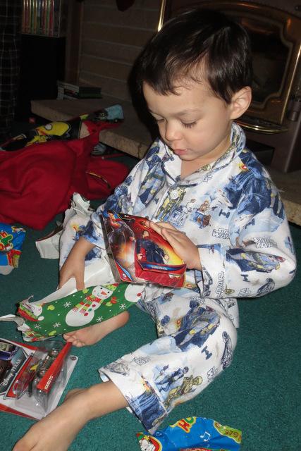 Rerun opens his stocking