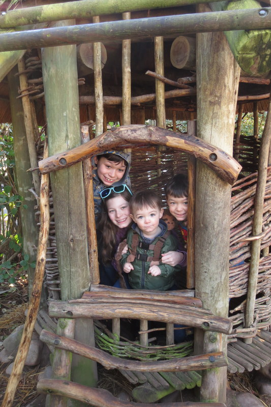 The kids in one of the African huts