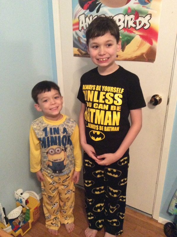 Tad and Rerun in their new pjs