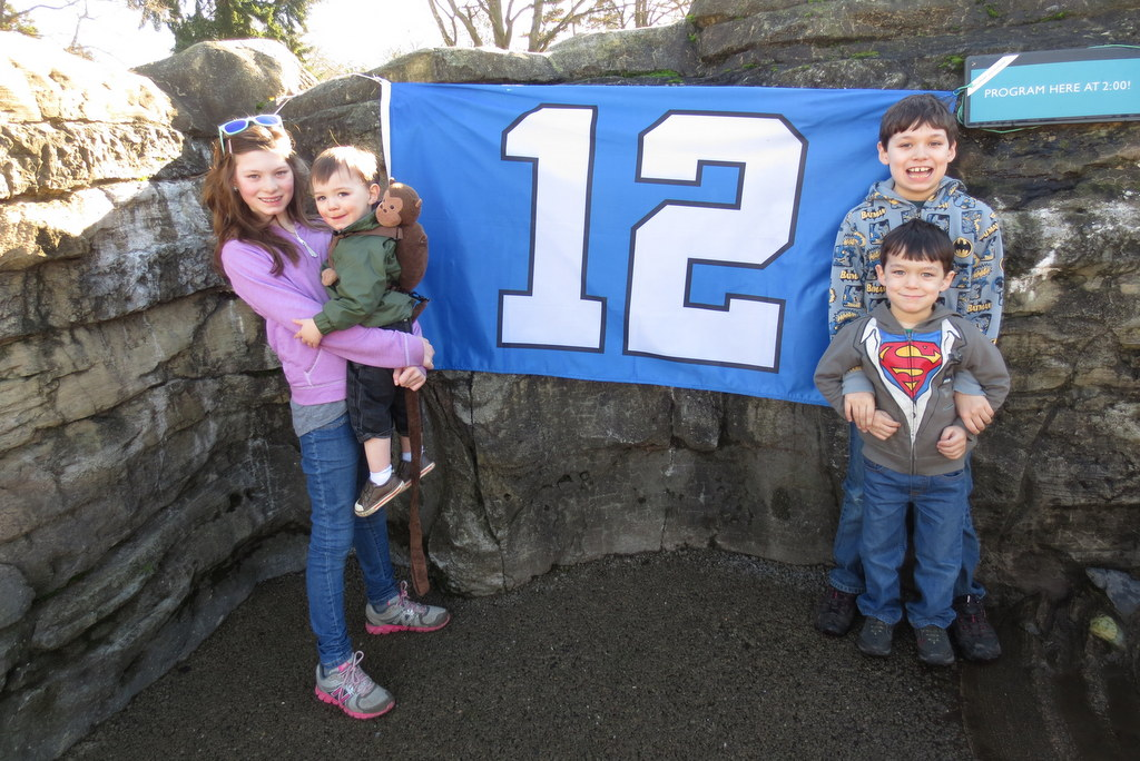 The 12th Man flag at the penguin exhibit