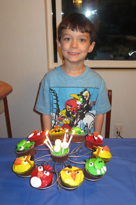 Rerun with his birthday cupcakes