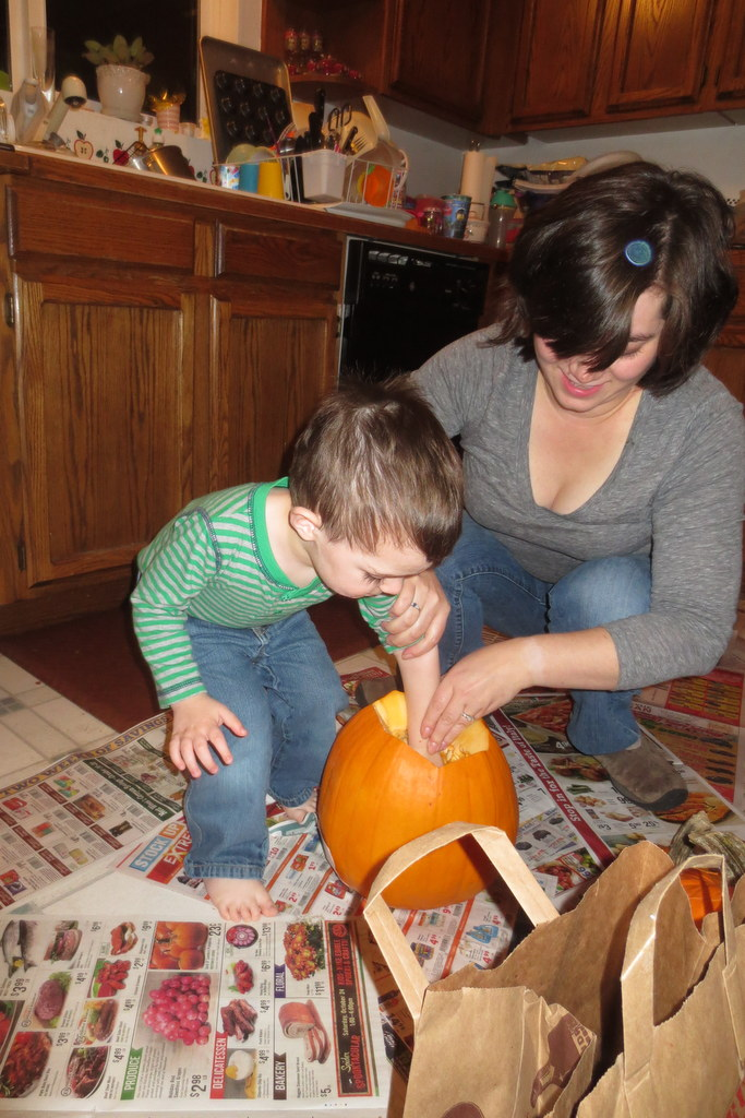 Thumper touches the pumpkin guts