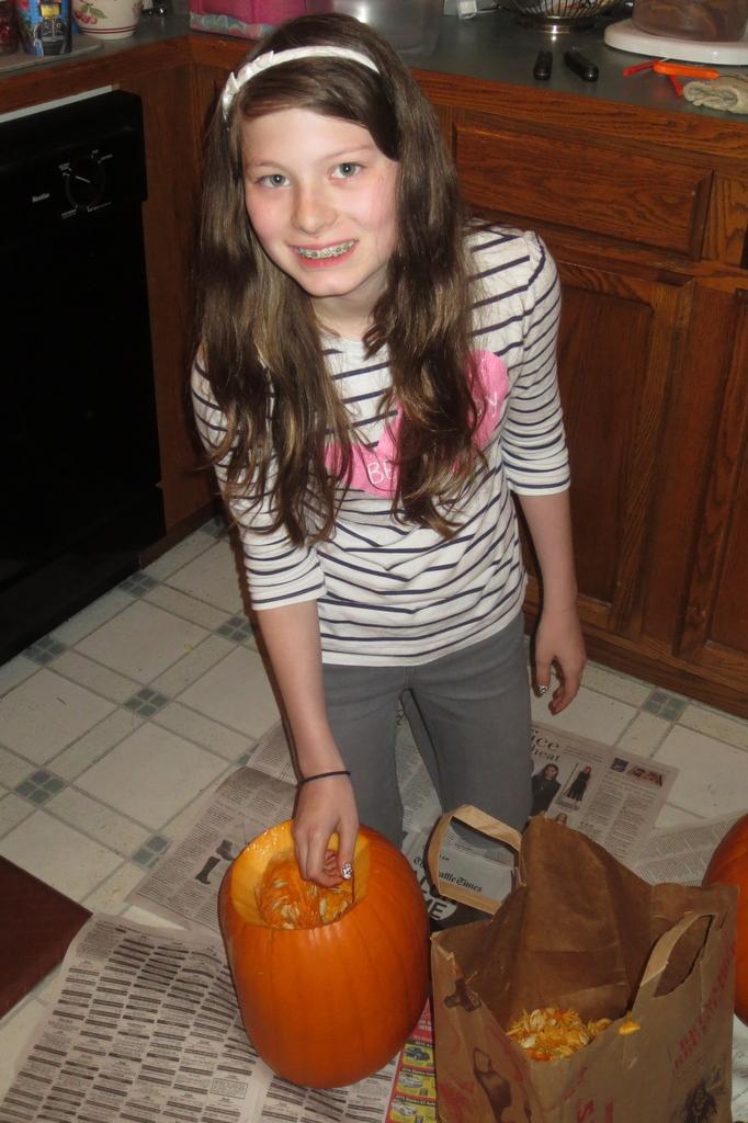 Ane starts on her pumpkin