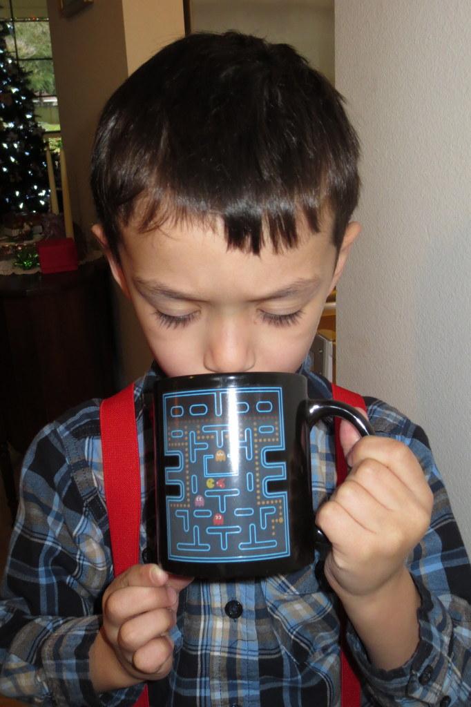 Rerun has hot cocoa in his new mug