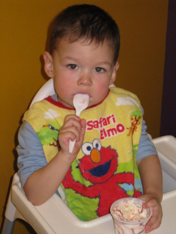 Tad eats his ice cream