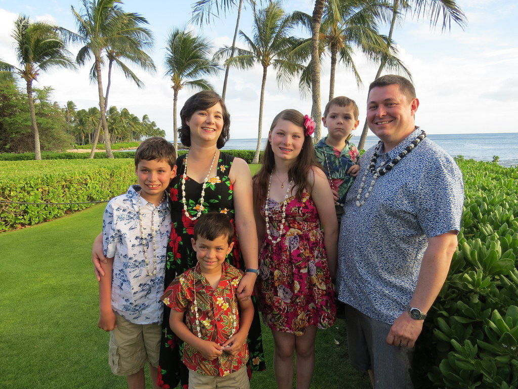 Family picture at the luau
