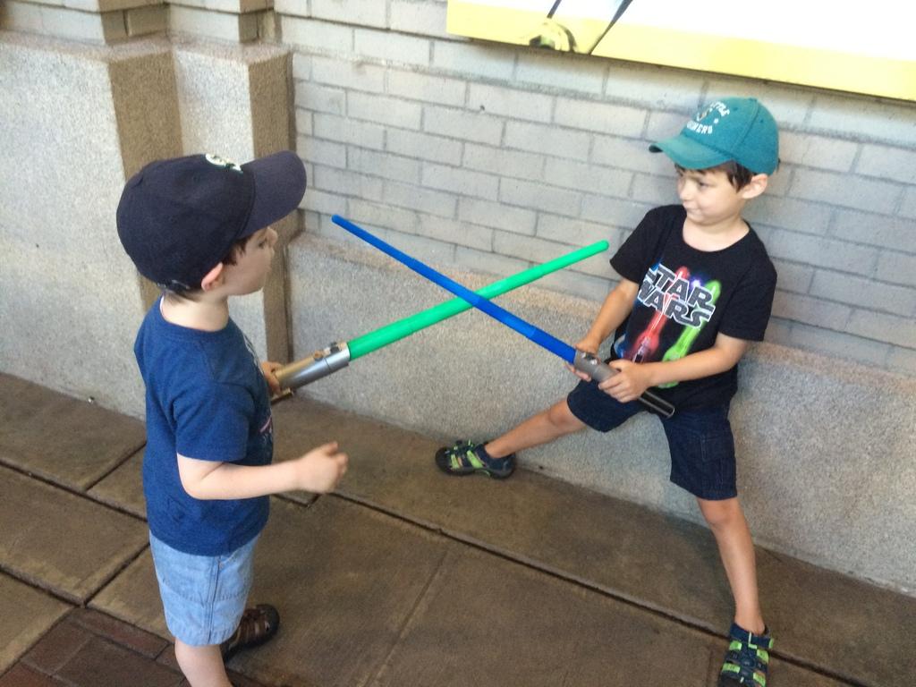 Little boys duel